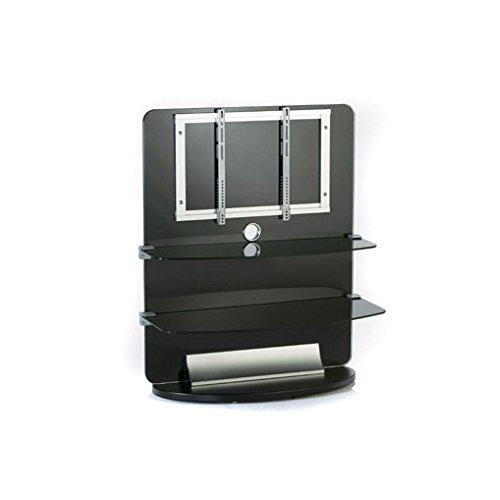 electronic star Meuble TV Mural Design Verre 2 étages pour écran LCD et Home Cinema- Noir