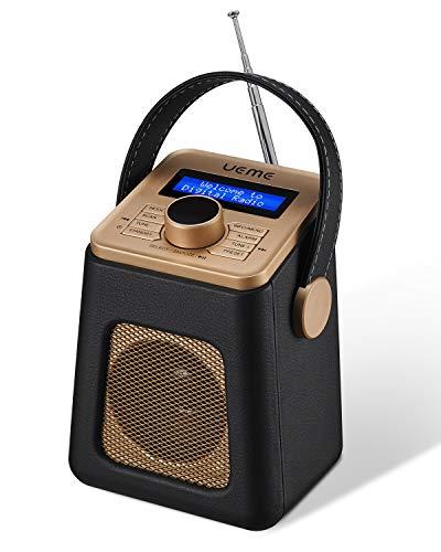 UEME Mini DAB+ DAB Digitalradio und UKW Radio mit Bluetooth Lautsprecher, Radiowecker, und Leder Verkleiden (Schwarz) -