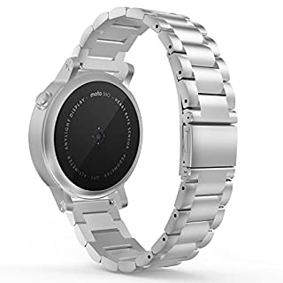 MoKo Watch Band for Gear S2 Classic/Gear Sport, Universal Stainless Steel Strap for Samsung Gear S2 Classic SM-R732 & SM-R735 / Motorola Moto 360 2nd / Gear Sport SM-R600, SILVER