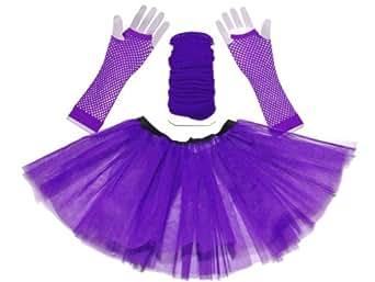 Just 4 Fun Leisurewear Purple 3 Layer Tutu Set, Leg Warmer & Fishnet Gloves Size 8 To 16