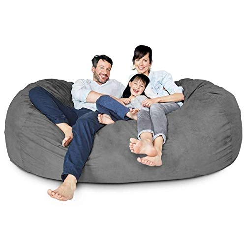 Fluco FoamSac XXXL Bean Bag Chair (Filled) with Washable Microfiber Cover, Big Size Sofa and Giant Lounger Furniture for Kids, Teens and Adults (7 Foot, Grey)
