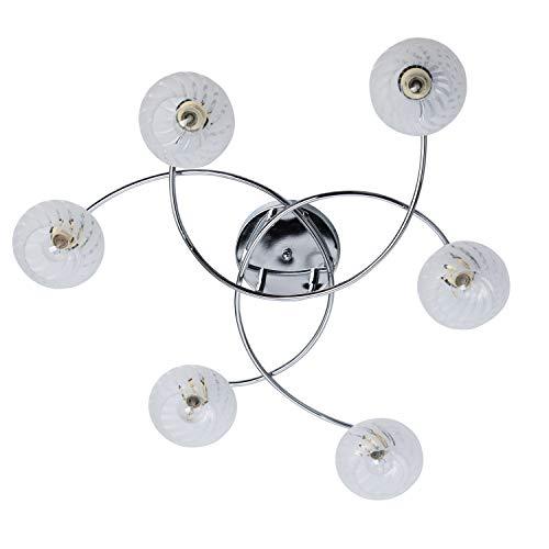 Demarkt 358014906 lampadario da soffitto moderno in metallo colore cromo paralume diffusori in vetro opaco con pattern e14 6 x 60w escl