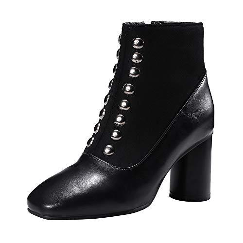 8ef41c05a04 LuckyGirls Botas Las Mujeres Botines Remache Retro Vintage Zapatos de Tacón  7cm Zapatillas Botas de Nieve
