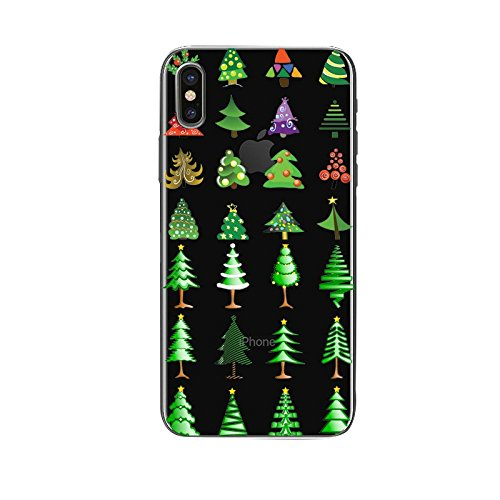 iphone X Silicone Cover, Cover per iphone X 5.8, Custodia iphone 10 Morbido, Ekakashop Fantasia Moda Painting Natale Colorata Pattern Gel Cristallo Silicone Gomma Soft TPU Ragazza Ragazzo Shockproof A C#15