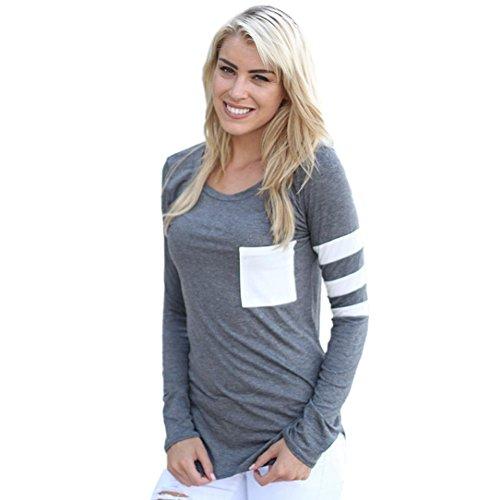 Womens Tops T-Shirt, OverDose Manches Longues Col Rond épissé Chemise Blouse Gris