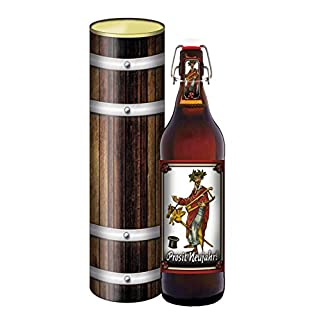 Prosit Neujahr! 1 Liter Flasche mit Bügelverschluss (mit Geschenkdose im Holzdesign)