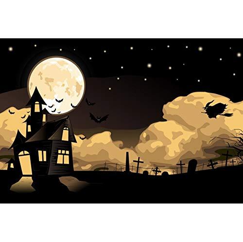 OERJU 2,7x1,8m Halloween Hintergrund Altes Schloss Hexe Fledermäuse Mond Sternenklare Nacht Hintergrund Halloween Party Fotografie Süßes oder Saures Kinder Party Banner Dekoration Porträt Requisiten