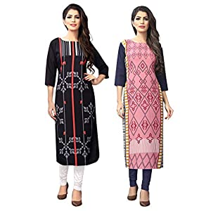 1 Stop Fashion Women's Multi-Coloured Crep Knee Long W Style Kurtas/Kurti (Pack of 2)
