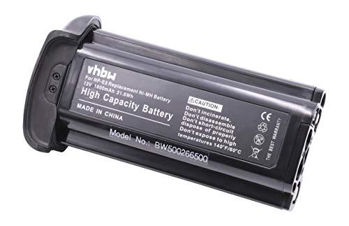 vhbw NI-MH Hochleistungs Akku 1800mAh (12V) für Kamera Canon EOS 1D 1DS Mark 2 MARK2 II MARKII EOS 1D Mark II N wie NP-E3. Canon Nimh
