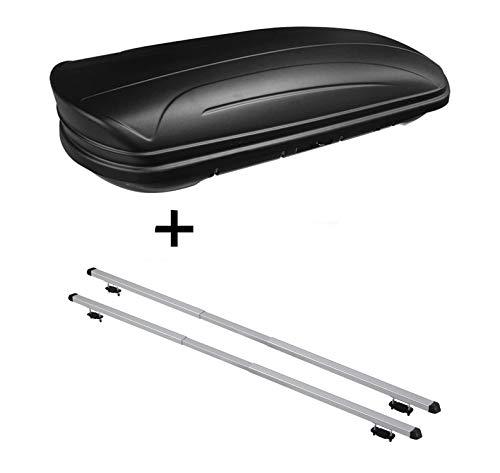 Dachbox VDPMAA320 320Ltr abschließbar schwarz matt + Dachträger Rapid kompatibel mit Volkswagen Golf V (1K) Variant (5Türer) 07-10