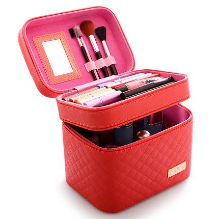 Femmes Cosmétique Boîte Designer Haute Qualité Portable Cosmétique Sac Grande Capacité PU Cosmétique Sac Femmes Maquillage Sacs (rouge)