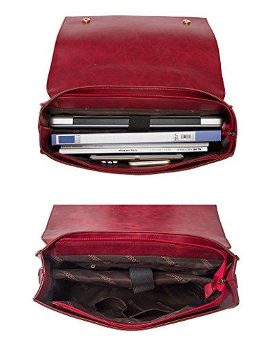 """ECOSUSI Vintage Damen Schultasche Arbeitstasche Aktentasche Laptoptasche 14"""" Rot"""