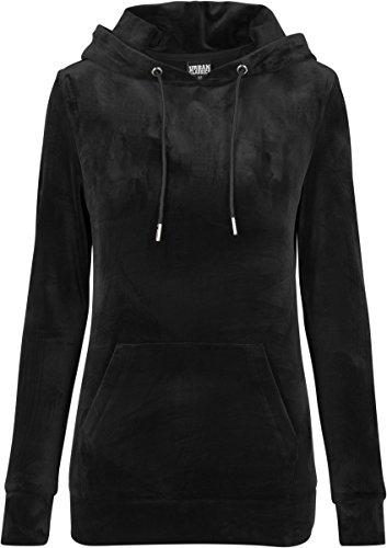 Urban Classics Ladies Velvet Hoodie, Samt weicher Velour Kapuzenpullover für Damen, Kapuzensweater - black, Größe S (Wieder Hooded-sweatshirts)