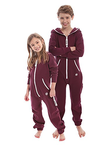 ZIPUPS Unisex Jumpsuit Kids Clean Cut Kinder Overall Homewear Outdoor bordeaux 6-7 Jahre