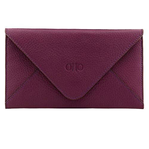 Otto Angelino portafoglio in vera pelle e porta carte di credito - portafolgio da viaggio stile-busta - scompartimenti multipli per denaro, Smartphone - Blocco di RFID (Viola)