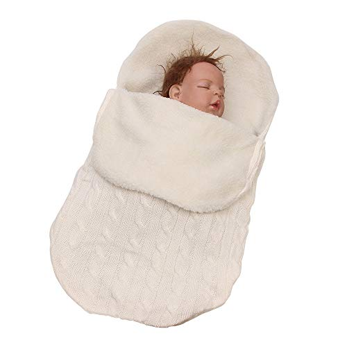 LAYBAY Neugeborenes Baby Schlafsack, Warmer Schlafsack gestrickt, Wolle Kinderwagen Schlafsack, gestrickte Decke, Baby Strickdecke, Wollteppich68 * 38 cm (26,8 * 15 Zoll)