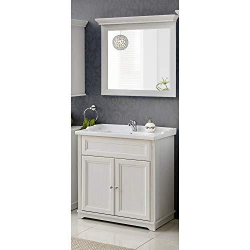 Lomadox Waschplatz Set ● Landhaus Andersen Pine weiß ● 60 cm Keramik-Waschtisch, Unterschrank mit 2 Türen und Spiegel -
