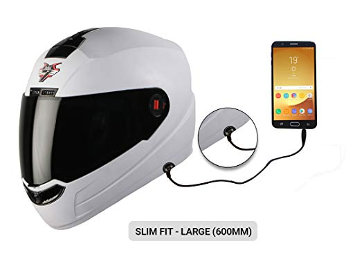 Steelbird SBA-1 7Wings HF Dashing Full Face Helmet with Smoke Visor and Detachable Handsfree Device (Large 600 MM Slim Fit, White)