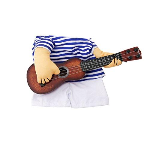 dung-lustiger Sänger-Welpen-Kostüm-Hundekatze, die Gitarren-Fantasie-Kostüm Halloween Coslay-Partei-Weihnachtsgeschenk-Größe XL für Hund innerhalb 10kg spielt (Einfach Lustige Kostüme Halloween)
