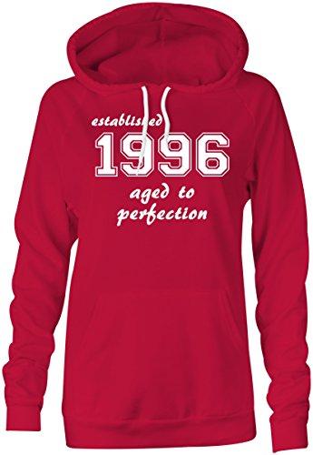 Established 1996 aged to perfection ★ Hoodie Kapuzen-Pullover Frauen-Damen ★ hochwertig bedruckt mit lustigem Spruch ★ Die perfekte Geschenk-Idee (04) rot