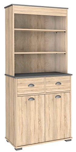 Bufe alto 2 puertas y cajones para cocina color roble 180x80cm