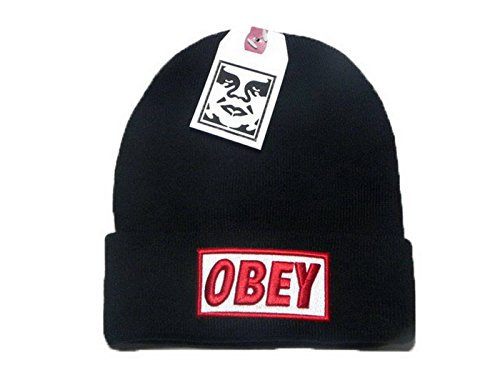 NEW Obey Cotton Flat Peak Needle Beanie Unisex taglia unica da donna uomo