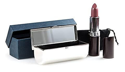 Personalised Silver Lipstick Holder / Case With Velvet Pouch and