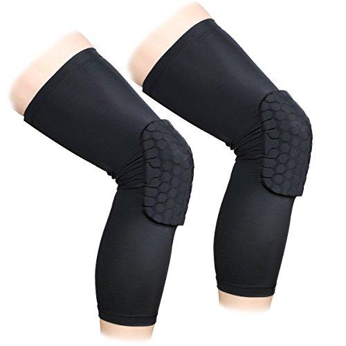 ANZOME 2Packungen (1Paar) Schutz Kompression Wear-Herren und Damen Basketball Brace Support-Beste bewegungsunfähig zu, Band & Wrap Knie für Volleyball, Fußball, Kontakt Sport, Black-Long Type -