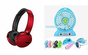 MIRZA Extra Bass XB 650 Headphones & Portable Fan for OPPO R9 (XB 650 Headphones,With MIC,Extra Bass,Headset,Sports Headset,Wired Headset & Portable Fan,Chargeable Fan,With Emergency Light)