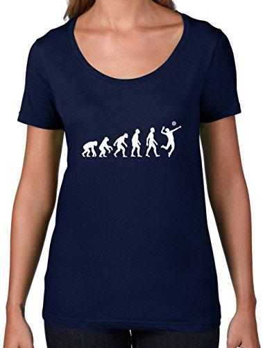 Evolution of Man Volleyball - Damen T-Shirt mit Rundhalsausschnitt- Navy - XL