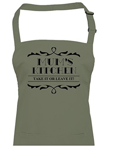 De Maman Kitchen – Take it ou laisser rigolo – Femme Tablier à partir de Fatcuckoo, vert olive, Taille Unique