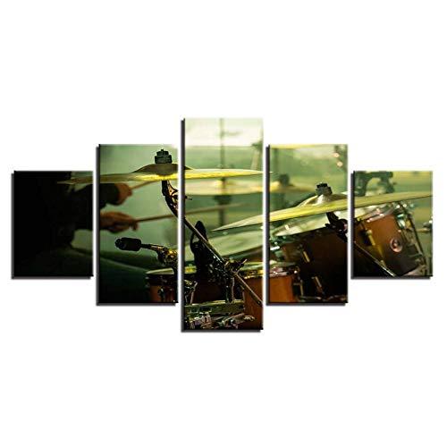 FEIF Hd Drucke Wohnkultur Leinwand Malerei 5 Stücke Trommel Wandkunst Musikalische Instrumente Modulare Bilder Für Wohnzimmer Kunstwerk Poster