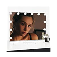 WAYKING Hollywood Lighted Makeup Cosmetic Vanity Mirror with 12 LED Lights, Touch Control Large Cosmetic Vanity Mirrors, 3 Light Modes, Tabletop Vanity Mirror for Dressing Table Bathroom, White