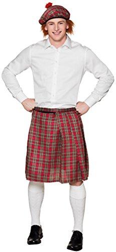 Kostüm Schottland Kinder - Karneval-Klamotten Kostüm Schottenrock rot kariert Herr Karneval Herrenkostüm Einheitsgröße