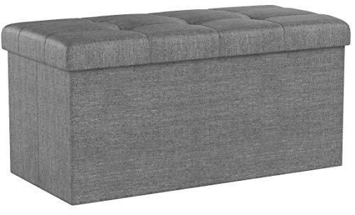 WOLTU Sitzhocker mit Stauraum Sitzbank Faltbar Truhen Aufbewahrungsbox, Deckel Abnehmbar, Gepolsterte Sitzfläche aus Leinen, 76x37,5x38 cm, Dunkelgrau, SH10dgr-1