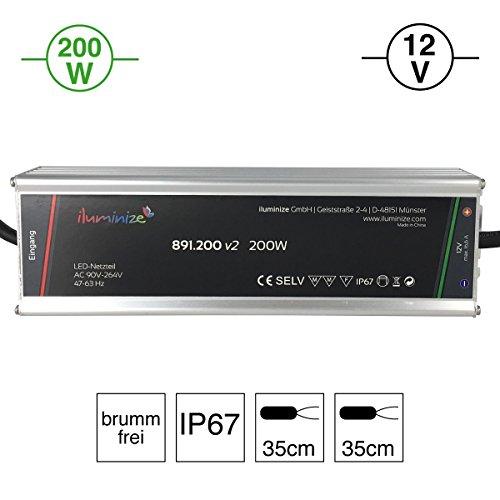 iluminize LED-Netzteil: hochwertiges & leistungsstarkes LED-Netzteil Aluminium 12V, 200W, IP67, brummfrei, laststabil, Anschlusskabel 35cm ohne Stecker (12V 200W)
