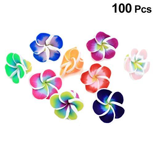 SUPVOX 100 STÜCK Handgemachte Polymer Ton 3D Blume, Hawaiian Schaum Frangipani Blume für Hochzeit (Mischfarbe) -