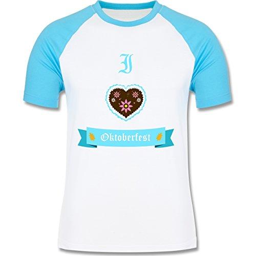 Oktoberfest Herren - I love Oktoberfest - zweifarbiges Baseballshirt für Männer Weiß/Türkis
