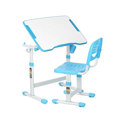 IKAYAA Bureau Enfant Table de Dessin et Chaise pour Enfants Hauteur Réglable 0-40 ° Bleu
