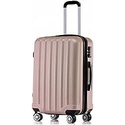BEIBYE TSA-Schloß 2080 Hangepäck Zwillingsrollen Reisekoffer Koffer Trolley Hartschale Set-XL-L-M(Boardcase) in 12 Farben (Rosa Gold, XL-Großer Koffer (76 cm))