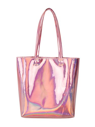 Choies Damen Handtasche Hologramm PU Shopper Taschen Casual Laser Henkeltasche Schultertasche Rosa (Tasche Laser)