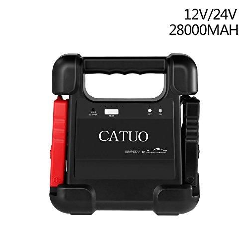 Preisvergleich Produktbild CATUO Tragbare Auto Starthilfe Jump Starter Auto Anlasser 1100A Spitzenstrom,  28000mAh Kapazität,  12V / 24V Universellen Unterstützung 12V Pkw / 24V LKW,  Grabenmaschine,  Rennboot usw