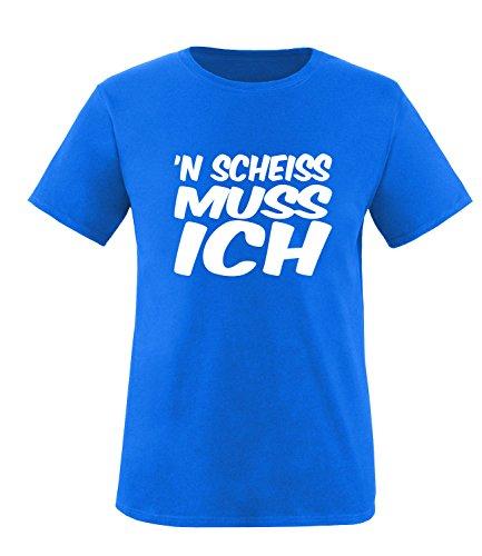Luckja n` scheiss muss ich Herren Rundhals T-Shirt Royal/Weiss