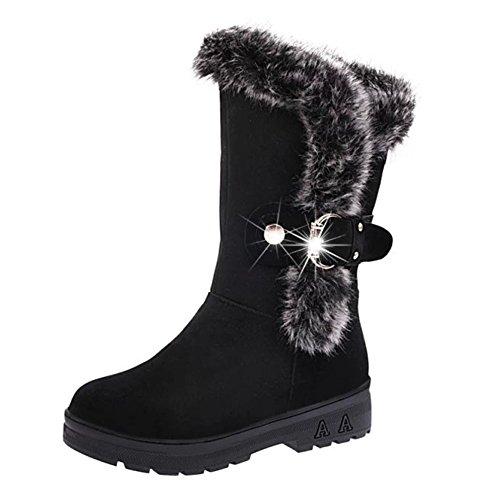 Damen Winterstiefel Winter Stiefeletten Snow Boots Schlupfstiefel Warm Gefüttert Frauen Winterschuhe Halbschaft Stiefel Flach Outdoor Schuhe Meedot