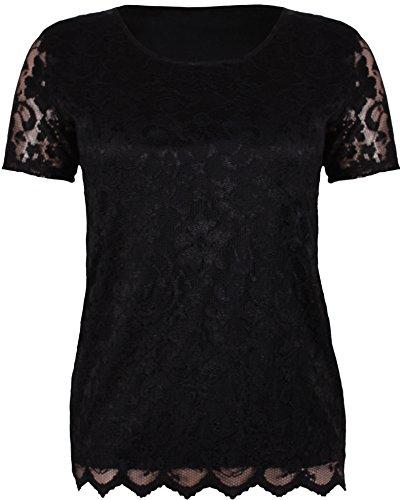 Damen Kurzärmelig Damen Stretch Rund U-ausschnitt Gefüttert Blumen Spitze Bluse T-Shirt Top Übergröße Schwarz