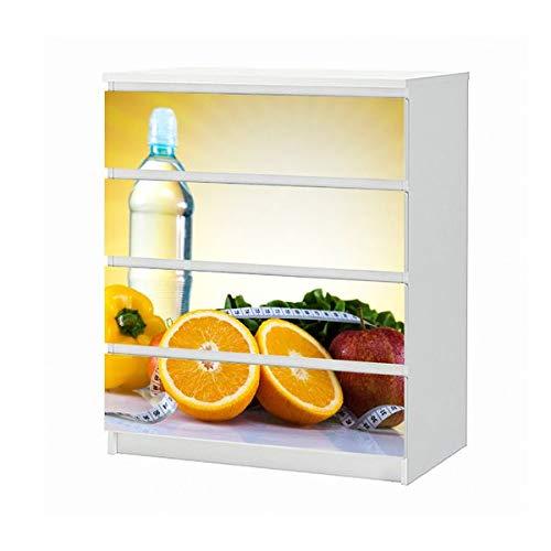 Set Möbelaufkleber für Ikea Kommode MALM 4 Fächer/Schubladen Apotheke Medizin Apfel Diät Obst Aufkleber Möbelfolie sticker (Ohne Möbel) Folie 25B474
