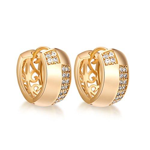 YAZILIND Dazzling 18K Gold Plated Inlay Zirkonia Hohl Kleine Creolen für Frauen