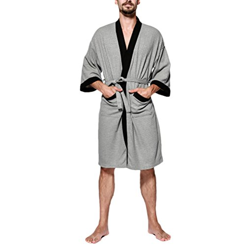 Zhhlaixing Herren Pure Cotton Lightweight Bademäntel Waffle Morgenmäntel Bath Robe Gents Wrap Kimono Loungewear für Gym Shower Spa Hotel Pool (Front Wrap Robe)