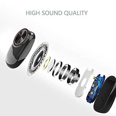 Écouteurs Bluetooth, Muzili Écouteur sans Fil Oreillette Bluetooth Léger Stéréo HD Casque Sport IPX5 Étanche Boîtier de Chargement Lecture de Microphone Intégré pour iOS et Android par Muzili