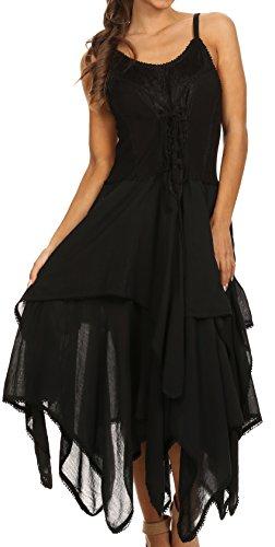 Sakkas Lady Mary Jacquard Corsetto Cappotto stile leggero abito da fazzoletto Hem Nero